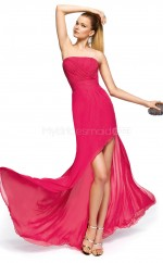 Fuchsia Silk Like Chiffon Mermaid Strapless Asymmetrical School Ball Gowns(NZJT06317)