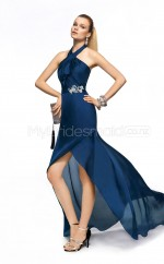 Silk Like Chiffon Sheath Halter Asymmetrical Ink Blue Ball Dresses (NZJT06347)