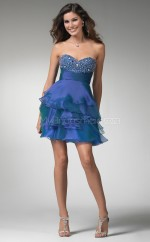 Royal Blue A-line Sweetheart  Organza Short Ball Dresses (NZJT06382)