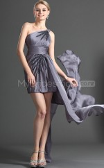 Gray Sheath Short Chiffon One Shoulder Ball Dresses (NZJT06390)