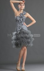 Gray Princess Knee-length Organza One Shoulder Ball Dresses (NZJT06391)