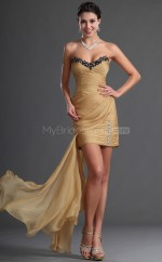Chiffon Sheath Sweetheart  Short Gold Ball Dresses (NZJT06395)