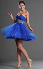 Ocean Blue Princess Sweetheart  Organza Short Ball Dresses (NZJT06398)