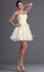Champagne Princess Sweetheart  Organza Short Ball Dresses (NZJT06399)