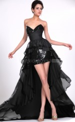 Sequined Sheath Sweetheart Asymmetrical Black Ball Dresses (NZJT06403)