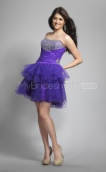 Royal Blue Tulle Princess Strapless Short School Ball Gowns(NZJT06407)