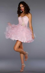 Blushing Pink Princess Sweetheart  Organza Short Ball Dresses (NZJT06415)