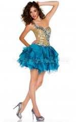 Turquoise Princess Short Charmeuse One Shoulder Ball Dresses (NZJT06416)