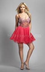 Red Satin Chiffon Princess Straps Short School Ball Gowns(NZJT06418)