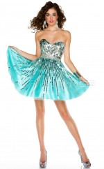 Blue Satin Chiffon Princess Sweetheart  Short School Ball Gowns(NZJT06421)