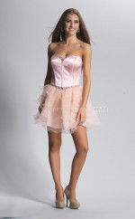 Blushing Pink Princess Sweetheart  Organza Short Ball Dresses (NZJT06427)
