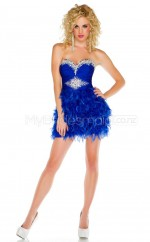 Royal Blue Stretch Satin Princess Sweetheart  Short School Ball Gowns(NZJT06429)