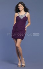 Chiffon Sheath Halter Short Grape Ball Dresses (NZJT06430)