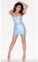 Sky Blue Sheath Sweetheart  Sequined Short Ball Dresses (NZJT06446)