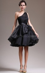 Black Princess Short Taffeta One Shoulder Ball Dresses (NZJT06456)