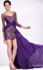 Lace Sheath V-neck Short Regency Ball Dresses (NZJT06462)