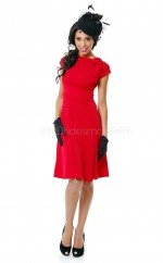 Knitwear A-line Bateau Neckline Knee Length Red Ball Dresses (NZJT06465)