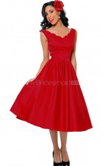 Satin Princess V-neck Tea-length Red Ball Dresses (NZJT06466)