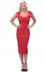 Satin Chiffon Sheath Sweetheart Tea-length Red Ball Dresses (NZJT06469)