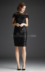 Black Sheath Off The Shoulder Sequined Short Ball Dresses (NZJT06474)