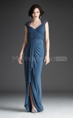 Satin Chiffon Mermaid V-neck Floor-length Ink Blue Ball Dresses (NZJT06479)