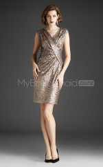 Sequined Sheath V-neck Short Gold Ball Dresses (NZJT06480)