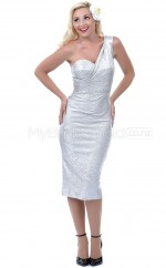 Silver Sheath Tea-length Sequined One Shoulder Ball Dresses (NZJT06485)