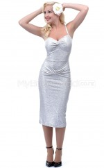 Silver Sheath Halter Sequined Short Ball Dresses (NZJT06486)