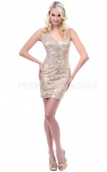 Sequined Sheath V-neck Short Gold Ball Dresses (NZJT06487)