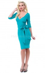 Turquoise Sheath V-neck Knitwear Short Ball Dresses (NZJT06488)