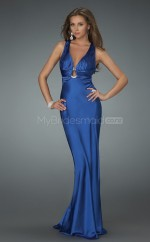 Satin Chiffon Sheath Halter Sweep Train Ocean Blue Ball Dresses (NZJT06503)