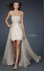 Silver Sheath Strapless Lace Long Ball Dresses (NZJT06504)