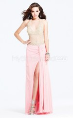 Chiffon Sheath Halter Sweep Train Candy Pink Ball Dresses (NZJT06517)