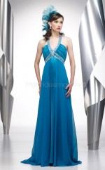 Chiffon A-line V-neck Court Train Ocean Blue Ball Dresses (NZJT06522)