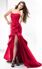 Taffeta Mermaid Strapless Asymmetrical Red Ball Dresses (NZJT06535)