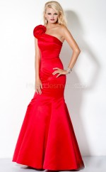 Red Mermaid Sweep Train Satin One Shoulder Ball Dresses (NZJT06540)