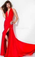 Chiffon Sheath Halter Court Train Red Ball Dresses (NZJT06544)