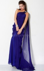 Royal Blue A-line Watteau Train Chiffon One Shoulder Ball Dresses (NZJT06545)
