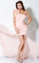 Pearl Pink Sheath Asymmetrical Chiffon One Shoulder Ball Dresses (NZJT06546)