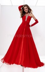 Red A-line Sweep Train Chiffon One Shoulder Ball Dresses (NZJT06560)
