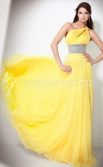 Yellow A-line Sweep Train Chiffon One Shoulder Ball Dresses (NZJT06565)
