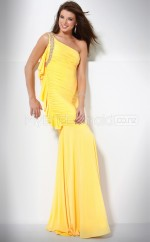 Yellow Mermaid Sweep Train Charmeuse One Shoulder Ball Dresses (NZJT06566)