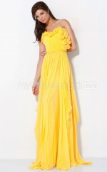 Yellow A-line Sweetheart Chiffon Long Ball Dresses (NZJT06567)
