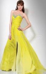 Yellow A-line Sweetheart Chiffon Long Ball Dresses (NZJT06568)