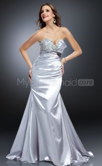 Silver Mermaid Sweetheart Strench Satin Long Ball Dresses (NZJT06571)
