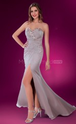 Silver Sheath Sweetheart Satin Chiffon Long Ball Dresses (NZJT06572)