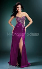 Fuchsia Sheath Sweetheart Strench Satin Long Ball Dresses (NZJT06574)