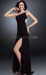 Black Sheath Sweep Train Chiffon One Shoulder Ball Dresses (NZJT06576)