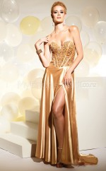 Charmeuse A-line Sweetheart Sweep Train Gold Ball Dresses (NZJT06580)