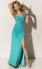 Pool Sheath Sweep Train Chiffon One Shoulder Ball Dresses (NZJT06582)